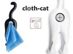 black Cloth Cat Towel Holder