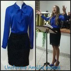 Blusa azul Bic com laço. Uniforme para congresso Amàlie modas