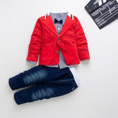 Buy Red Trendy Blazer Attached Bow With Shirt And Jean Set online @ ₹510 | Hopscotch Dapper Suits, Little Gentleman, Leather Jacket, Hopscotch, Bows, Blazer, Lady, Fabric