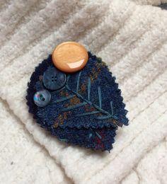 Harris Tweed Fabric Leaves Brooch.  Blues Wine by KnitwitDesignsUK