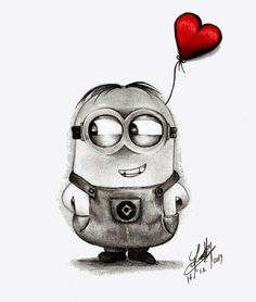 Minion Bob Drawing in pencil - Painting Disney Drawings Sketches, Cute Cartoon Drawings, Girl Drawing Sketches, Girly Drawings, Art Drawings Sketches Simple, Pencil Art Drawings, Cartoon Pencil Sketches, Drawing Ideas, Black Pen Drawing