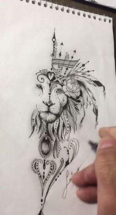 Mandala Tattoo Design, Dotwork Tattoo Mandala, Leo Tattoo Designs, Animal Mandala Tattoo, Geometric Tattoo Animal, Mandala Tattoo Back, Trendy Tattoos, Popular Tattoos, Tattoos For Guys