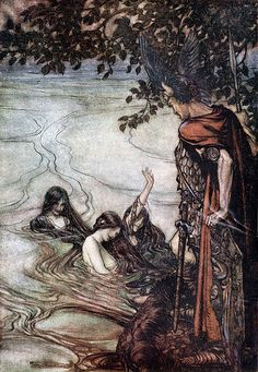 The Rhine maidens make fun of Siegfried by Arthur Rackham