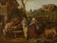 Adriaen Brouwer | Peasant Brawl, Adriaen Brouwer, 1620 - 1630 | Boerenvechtpartij. Ruzie tussen kaartspelende dronken boeren aan een tafel buiten een herberg. Twee boeren trekken zwaarden, vrouwen proberen ze tegen te houden. Rechts varkens in de modder.