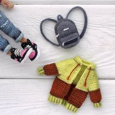 👋😋❤ New girl will be presented today! you can look at these details, while I do photos. Crochet Doll Clothes, Knitted Dolls, Crochet Dolls, Cute Crochet, Crochet Baby, Baby Clothes Patterns, Doll Costume, Little Doll, Doll Maker