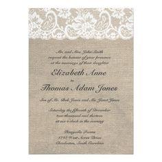 lace and burlap wedding invitation... zazzle.com