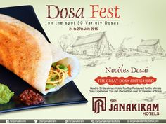 #NoodlesDosa  - Crispy dosa simply filled with Stir-Fried Vegetables. Enjoy this weekend with your loved ones at #SrijanakiramHotels  from 24th to 27th July at #Rooftop_Restaurant #DosaFestival #DosaFest #DosaMela #foodie