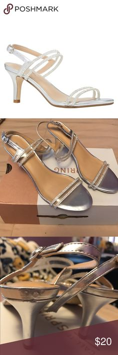 """Silver shoes from call it spring 3"""" only worn once, managed to damage the back of one as seen in picture, still great condition! Call It Spring Shoes Heels"""