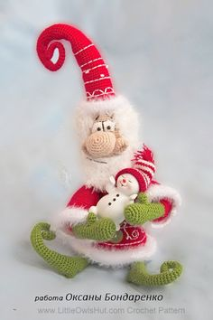 036 Santa Claus, Father Frost, Father Christmas toy Ravelry Crochet pattern by LittleOwlsHut Crochet Santa, Christmas Crochet Patterns, Holiday Crochet, Crochet Dolls, Father Christmas, Christmas Toys, Christmas Ornaments, Magic Ring Crochet, Ravelry Crochet