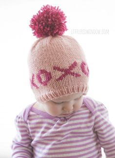 Fair Isle XOXO Hugs & Kisses Valentine Knitting Pattern for babies and toddlers! | littleredwindow.com