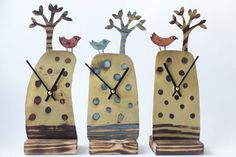 Handmade Tree & Bird clock in etched metal by JillStewartworks