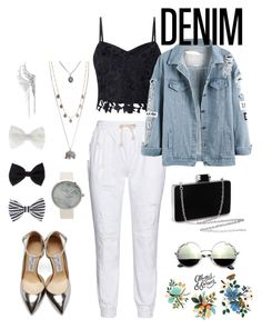"""""""denim"""" by lenamia1904 ❤ liked on Polyvore featuring 17 Sundays, Lipsy, Jimmy Choo, Cristina Ortiz, Aéropostale, Tattly and Accessorize"""