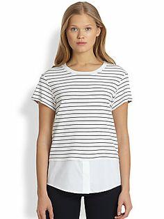 Theory Niceville Shirt-Hem Striped Tee