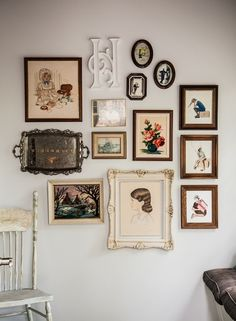 wall collage- finally something to I can do with my grandma's silver tray!