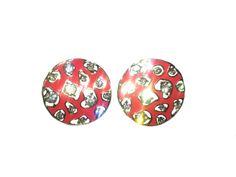Red-Pink stud earrings