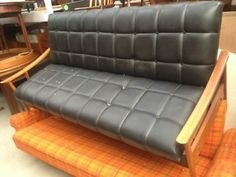 Vintage retro faux leather teak frame Danish style sofa bed couch  London Picture 1