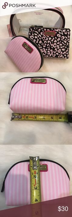 Brand new Victoria's Secret 3 piece makeup bag Brand new Victoria's Secret 3 piece makeup bag set. Retails for $38. Measurements pictured. Can be used separately as makeup bags or coin purse, etc. no Trades. Victoria's Secret Bags Cosmetic Bags & Cases