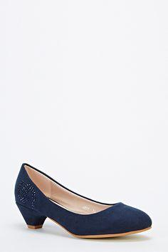 Encrusted Side Kitten Heel Shoes