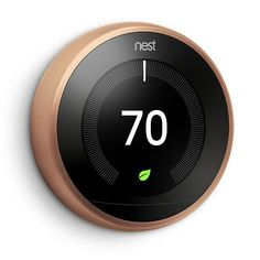 Take control of your home's heating and cooling without lifting a finger with this Nest Smart Learning Wi-Fi Programmable Thermostat Gen in Copper. Energy Use, Save Energy, Nest Thermostat, Smart Home Technology, Technology Design, Technology Apple, Technology Quotes, Shopping, Saving Money