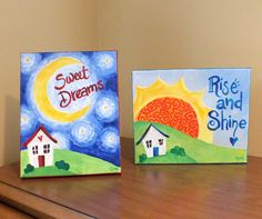 Nursery Art, Rise & SHINE and Sweet DREAMS SET, Two 10x8x3/4 Acrylic Canvas, Art for Kids, Childrens Rooms, Baby Nursery Decor