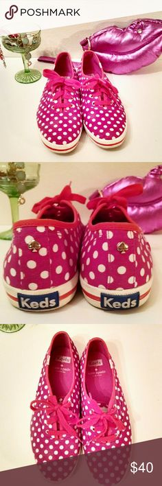 Kate Spade Keds Rare Pink Polka Dot Sneakers Adorable Keds by Kate Spade. Women's size 8 in an uncommon pink dot print. Gently loved with a few minor scuffs and some very minor fading from cleaning (see last pic for example on toes). Overall an adorable and unique pair of shoes, perfect for any Spadie! kate spade Shoes Sneakers