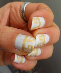 The #Nail Files: Greek (inspired by my reading of The Song of Achilles) with Snow White by #Zoya and gold #StripeRite