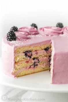 Soft and moist blackberry cake with fluffy blackberry lemon buttercream frosting.