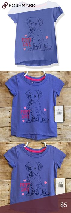 Carhartt Baby Girls' Short Sl Tee-Baja Blue, Sz 6M Very cute!!  Puppy love. Short sleeve. Brand new with tags. Size 6 Months. Carhartt Shirts & Tops Tees - Short Sleeve