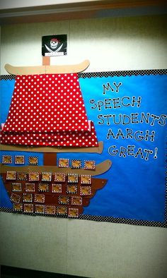 Cuuuute idea for possible speech classroom one day! board pirates or any classroom Pirate Bulletin Boards, Speech Bulletin Boards, Classroom Bulletin Boards, Classroom Displays, Classroom Themes, Classroom Organization, Classroom Management, Classroom Teacher, Music Classroom