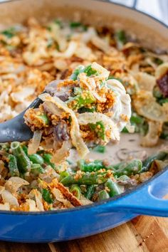 A super tasty version of a classic, made from scratch using fresh ingredients. This green bean casserole is a family favorite that everyone will love! #casserole #greenbeans #sidedish #thanksgiving