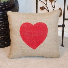 Red Heart Burlap Pillow Mother's Day pillow gift by sherisewsweet, $29.00