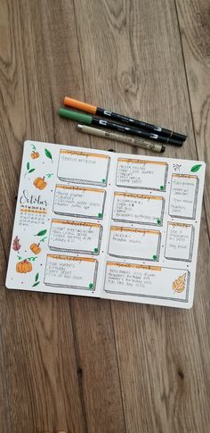 October bullet journal weekly spread . Fallow me on Instagram www.instagram.com/being.karlyn . #planwithme #journaling #happymonday #pumpkins #handlettering #easybujolayout #bujo #bulletjournal #weeklyspread #layout #bulletjournalss #bullet.journal #tombow #tombowpens #fall #bulletjournalinspiration