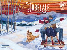 Deschutes Brewery 2014 Jubelale Beer Label Art, Fiber and Textiles with overstitching, created by Lisa and Lori Lubbesmeyer.