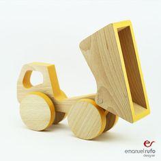 Wooden Dump Truck Push Toy Car Toddler Birthday by emanuelrufo