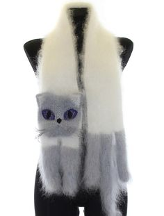 SALE 15 % OFF / Knitted Scarf / Fuzzy white and gray by TaniaSh