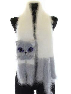 Gestrickter Schal / Fuzzy weiß und grau blau Soft Schal von TaniaSh
