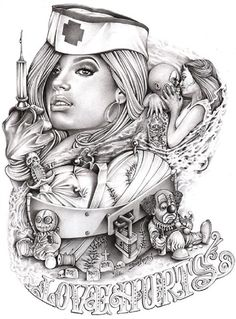 Love Hurts by Mouse Lopez Sexy Nurse Tattoo Canvas Giclee Art Print – moodswingsonthenet