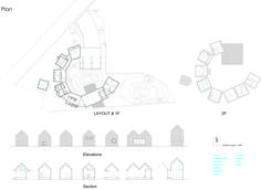 Image 22 of 23 from gallery of House of Awa-cho / Container Design. Plan, Section & Elevation