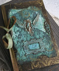 FAITH ANGEL altered collage Victorian journal, poetry book or sketchbook, hardbound with antiqued embellishments. $40.00, via Etsy.