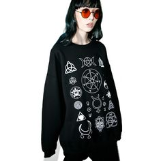 Witch Worldwide Witch Symbols Oversize Sweatshirt ($55) ❤ liked on Polyvore featuring tops, hoodies, sweatshirts, oversized sweatshirts and oversized tops