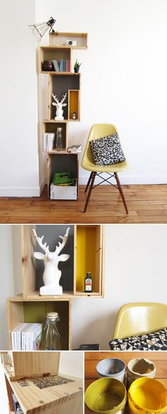 For this new DIY we have thought of some practical and adjustable storage systems. The wine crates that we found make the perfect structure for creating shelves. Furniture Plans, Diy Furniture, System Furniture, Furniture Chairs, Garden Furniture, Bedroom Furniture, Outdoor Furniture, Diy Etagere, Diy Rangement