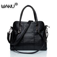 Wanu роскошные кожаные сумки, женские сумки из овечьей кожи женская сумка  черные сумки Топ- 661a333b181