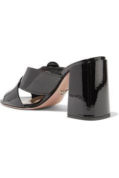 90b853a2a1a4 Prada - Buckled Patent-leather Mules - Black