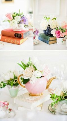 67 Cool Tea Party Bridal Shower Ideas for Your Inspiration - Bachelorette☆ - Yorgo Party Table Centerpieces, Tea Party Table, Brunch Table, Tea Party Decorations, Bridal Shower Decorations, Decoration Table, A Table, Floral Centerpieces, Birthday Decorations