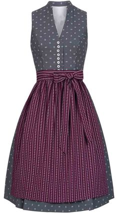 Dirndl midi Zita in Grau-Bordeaux von Nübler - Designed in Bavaria