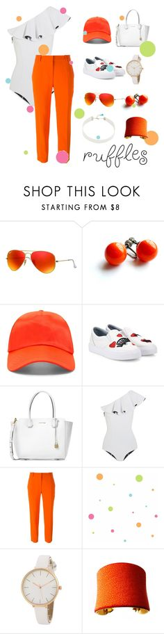 """RUFFLES CONTEST"" by vjerph ❤ liked on Polyvore featuring Ray-Ban, Forever 21, Chiara Ferragni, Michael Kors, Lisa Marie Fernandez, STELLA McCARTNEY, York Wallcoverings, UNEARTHED and Lacey Ryan"