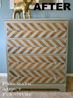 Pneumatic Addict Furniture: Pewter Herringbone Dresser Tutorial