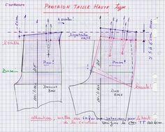 Transformations : patrons types, les Pantalons. Mettre une taille haute +5 à 6 cm env au dessus de la ligne taille, ajouter un enforme interieur ! zom = clic l'Img