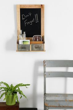 Dual-Drawer Chalkboard Wall Shelf - Urban Outfitters