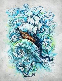 This style, but green swirls instead of blue, with flowers instead of the ship. As a tattoo.
